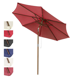 Yescom 9 ft 8-Rib Patio Outdoor Wooden Tilt Umbrella Color Options