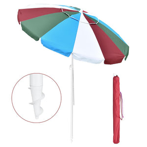 Yescom Rainbow Beach Umbrella Tilt 6 ft 12-rib w/ Anchor