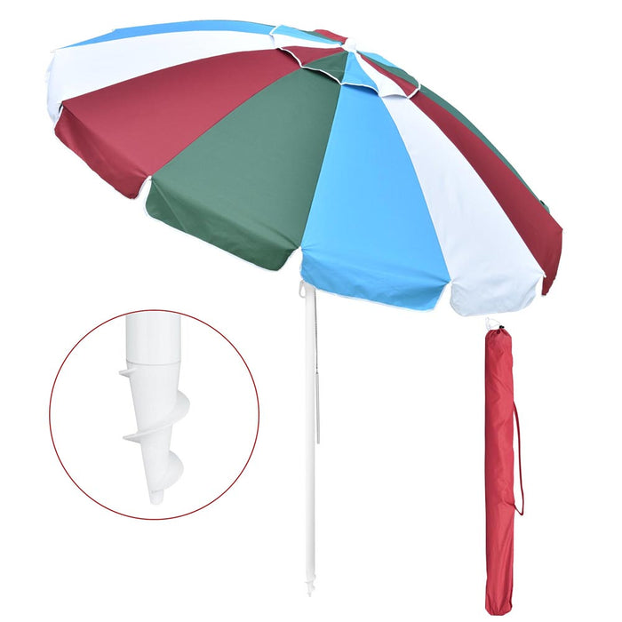 Yescom Rainbow Beach Umbrella Tilt 7 ft 12-rib w/ Anchor