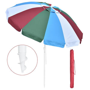 Yescom Rainbow Beach Umbrella Tilt 8 ft 12-rib w/ Anchor
