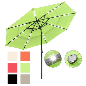 Yescom 10ft Prelit Umbrella 3-Tiered Patio Umbrella with Lights