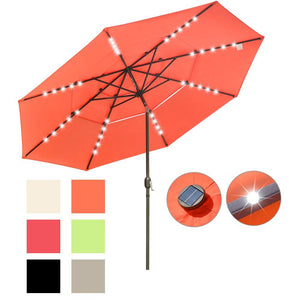 Yescom 11ft Prelit Umbrella 3-Tiered Patio Umbrella with Lights