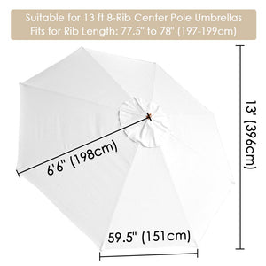 Yescom 13' Outdoor Market Umbrella Replacement Canopy 8-Rib