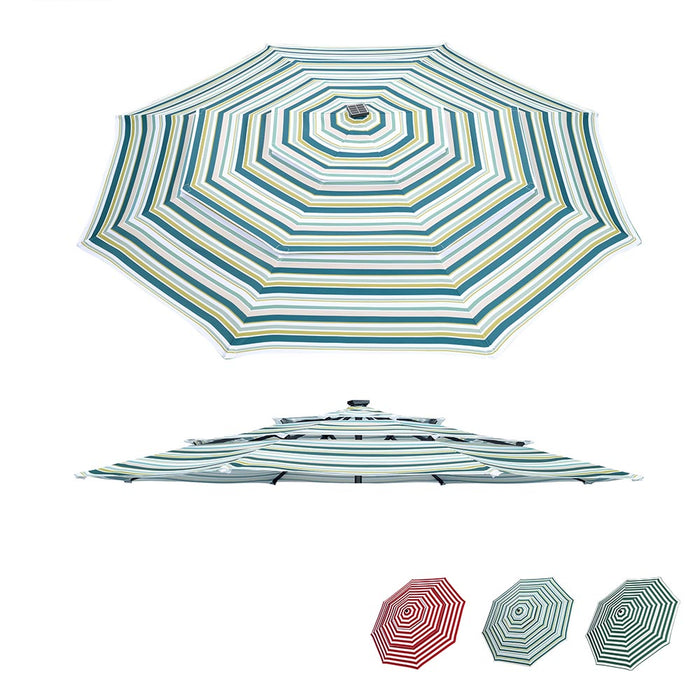Yescom 11' Outdoor Patio Umbrella Replacement Canopy 3-Tiered 8-Rib