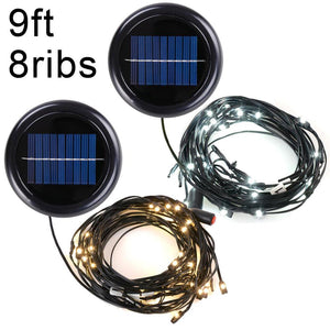Yescom 9ft 8 ribs Offset Patio Umbrella Mini LED String Light Color Opt