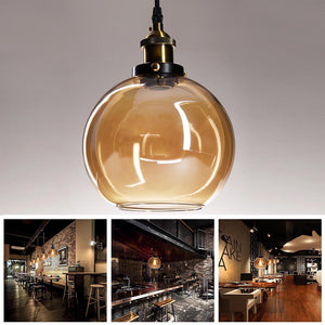 Yescom Pendant Light Glass Globe Shade 7 9/10 in Vintage Classic Amber