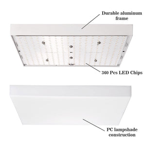Yescom Kitchen Ceiling Light Square Dimmable Flush Mount w/ Remote 36W