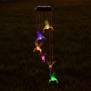 Yescom Solar LED Wind Chime Color Changing Decor Light Hummingbird