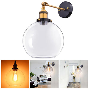 Yescom 7 9/10 in Vintage Clear Glass Globe Shade Wall Lamp 1 Light