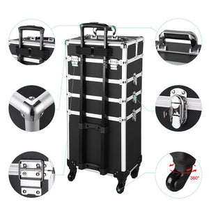 Byootique 4in1 Aluminum Rolling Makeup Case w/ Keylock Black