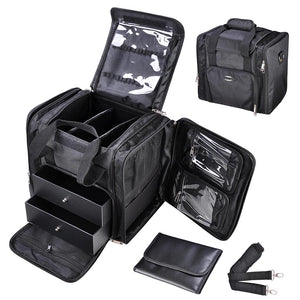 AW Makeup Train Case Cosmetic Storage Bag Black 1200D 13""