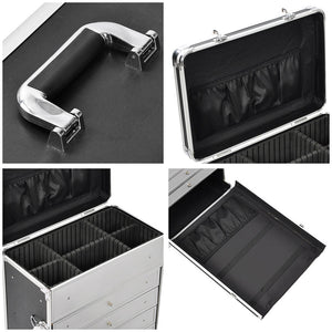 AW Rolling Cosmetic Makeup Case w/ 4-Draw Black