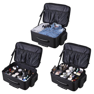 Byootique Rolling Makeup Case on Wheels Cosmetic Organizer 1680D Oxford