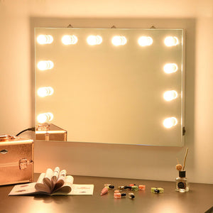 Yescom Hollywood Vanity Mirror 34x26 in Tabletop Wall Mount White