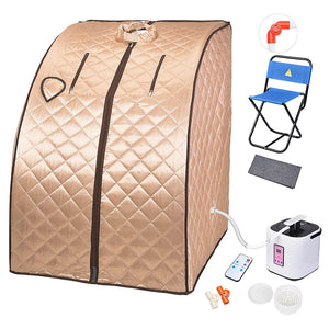 Yescom Portable Steam Sauna Tent Spa Detox w/ Chair Champagne