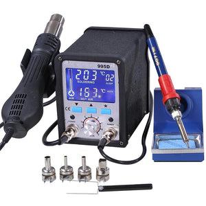Yescom 995D Soldering Station SMD Hot Air Iron Rework Big LCD Display