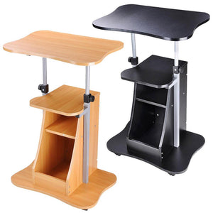 Yescom Height-Adjustable Rolling Laptop Cart w/ Storage Black/ Beech Opt