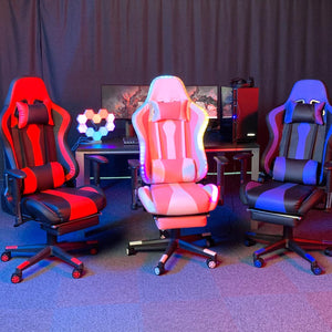 Yescom Gaming Chair with Footrest & Lights Reclining Racing Chair