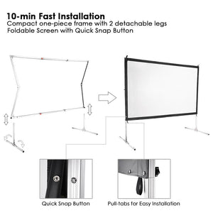 InstaHibit Outdoor Portable Projection Screen w/ Stand 16:9 100""