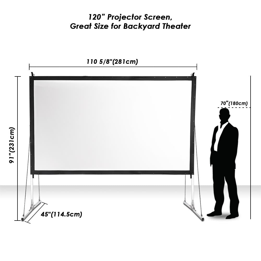 Instahibit Outdoor Portable Projection Screen W Stand 16 9 120 Yescomusa