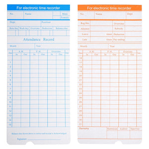 Yescom Attendance Cards Monthly Records Double Sided 50 Card / Pack