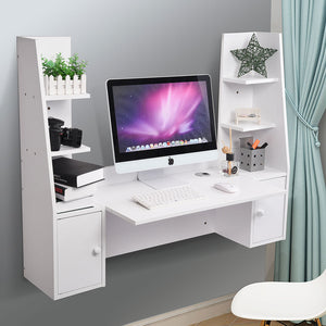 Yescom Wall Mounted Floating Desk w/ Shelves & Cabinet