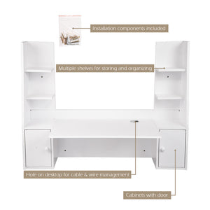 Yescom Wall Mounted Floating Desk with Shelves & Cabinet