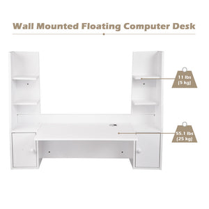 Yescom Wall Mounted Floating Desk w/ Shelves & Cabinet, White