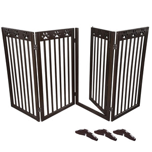 80x36in 4-Panel Folding Wood Pet Gate Grate Baby Barrier