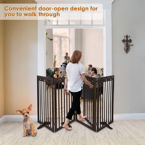 Yescom 4-Panel Folding Wood Pet Gate Grate Baby Barrier 80x36in