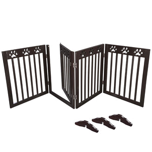 80x24in 4-Panel Folding Wood Pet Gate Grate Baby Barrier
