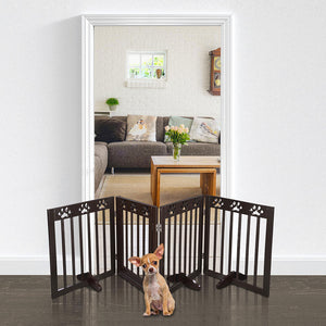 Yescom 4-Panel Folding Wood Pet Gate Grate Baby Barrier 80x24in