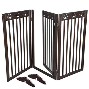 60x36in 3-Panel Folding Wood Pet Gate Grate Baby Barrier
