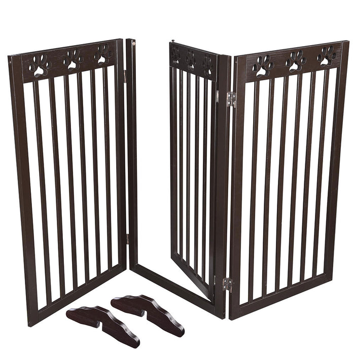 Yescom 3-Panel Folding Wood Pet Gate Grate Baby Barrier 60x36in