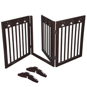 Yescom 3-Panel Folding Wood Pet Gate Grate Baby Barrier 60x24in