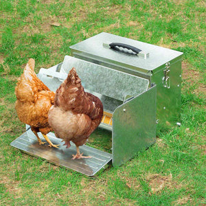 Yescom Poultry Chicken Auto Feeder Self Opening Feeding Troughs