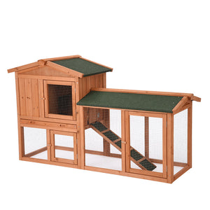 Yescom 58x20x33 in 2-Story Rabbit Hutch w/ Run Bunny Wood House