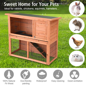 Yescom 2-Story Rabbit Hutch Wooden Small Animal House 44x18x36 in