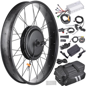"Yescom 26"" Electric Bicycle Motor Front Wheel Fat Tire Kit 48v 1000w"