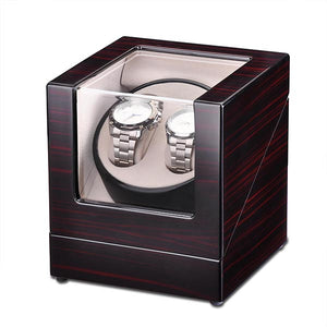 Yescom Automatic Dual Watch Winder Box Wooden Display Case