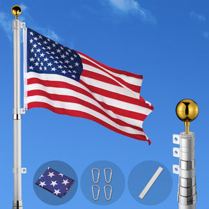 Yescom American Aluminum Telescoping Flag Pole Set 25'