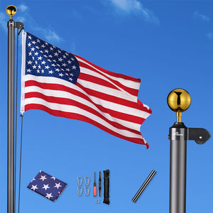 YesHom American Aluminum Sectional Flag Pole Set 25'
