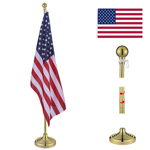 YesHom 6' Indoor Flagpoles with Stand US Flag 2-Pack