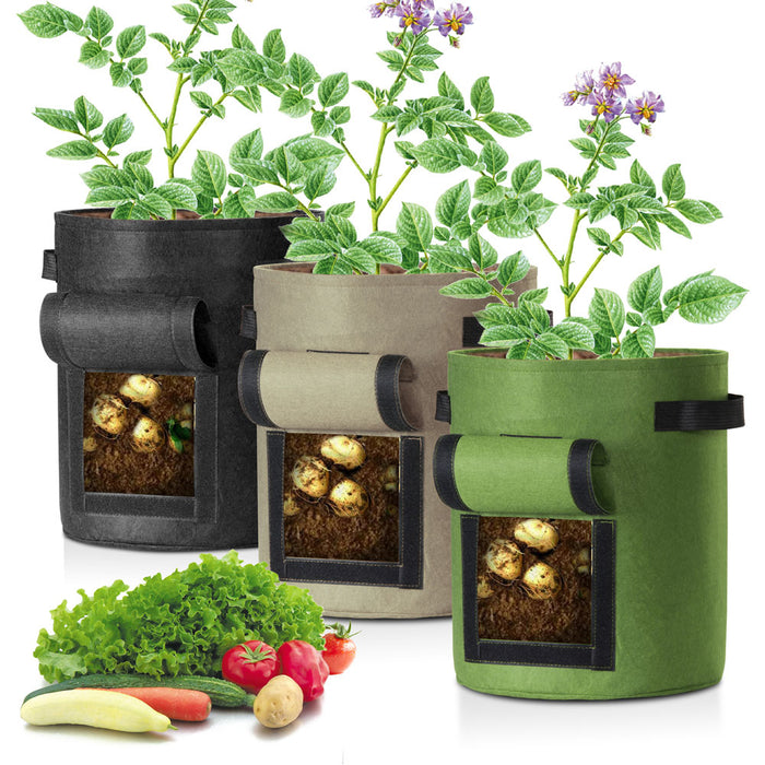 Yescom Pack of 3 7 Gallon Potato Grow Bags Fabric Pots w/ Handles