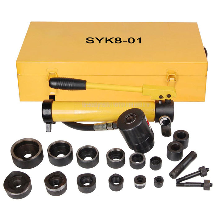 Yescom 10 Ton Hydraulic Punch Press w/ 6 Piece Tool Kit Yellow