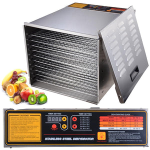 Yescom Food Dehydrator 10-Tray Stainless Steel Commercial 1200w
