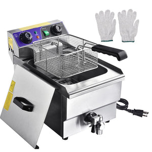 Electric Deep Fryer w/ Drain 10L Stainless Steel
