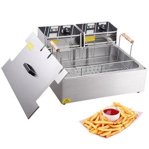 Electric Fat Deep Fryer Countertop 20L Large Tank