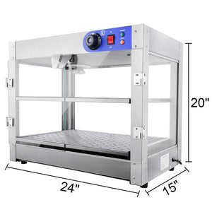 Yescom Pizza Food Warmer Commercial Countertop Display Case 2 Tier
