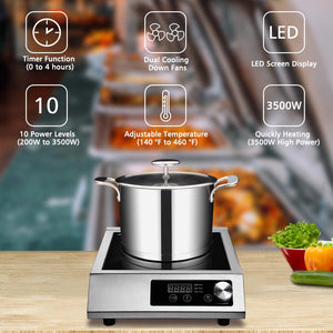 Yescom 3500W Commercial Induction Cooktop Electric Cooker Burner